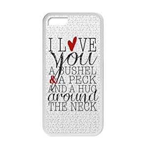 Romantic Valentine's Day Gift - Special Love Quotes I Love You a Bushel and a Peck Pattern iPhone 5C TPU(Laser Technology) Durable Back Case Shell - For iPhone 5C