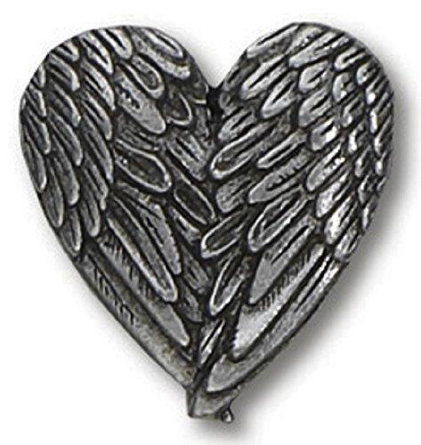 H. J. Sherman Angel Heart Wings Lapel Pin Genuine Pewter Silver Tone