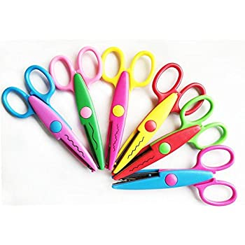 """NYKKOLA 5 Inch Length Creative Scissors School Smart Paper Decorative Wave Lace Edge Scissors - Set of 6 - Assorted Colors For Scrapbook Crafts and Gif t Card GiftCard (Pack of 6 - 5"""")"""