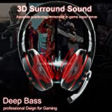 USB Wired Gaming Headsets, JAMSWALL Gaming Headphones with Noise-canceling Mic Volume Control, Over-Head Stereo Headphone, for PS3 PS4 Tablet Laptop PC Computer Gamers