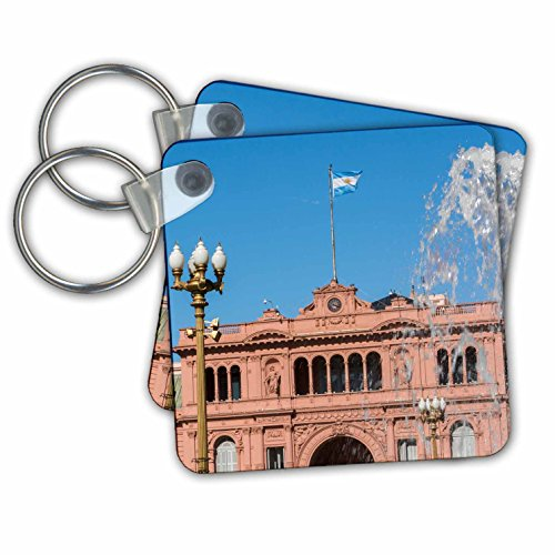 Danita Delimont - Architecture - Fountain in Plaza de Mayo with Casa Rosada, Buenos Aires, Argentina - Key Chains - set of 2 Key Chains - Kc Plaza