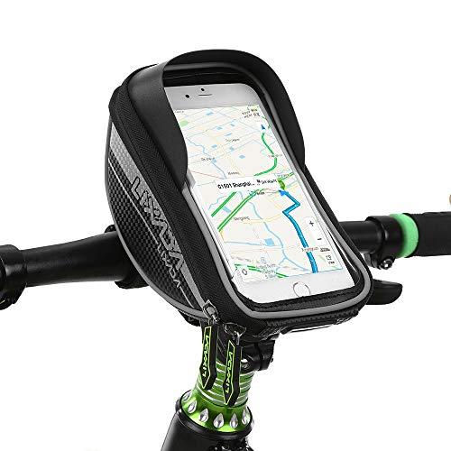 Lixada1 Bike Phone Mount Bag Bicycle Frame Bag Bike Front Tube Handlebar Bag Waterproof Touchscreen Phone Bag