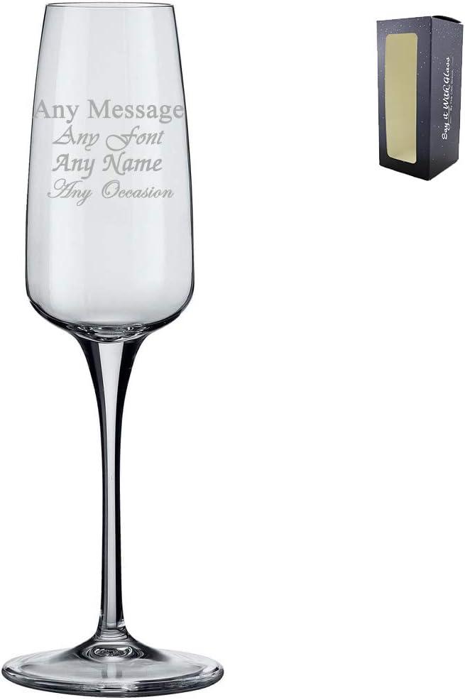Copa de champán Aurum grabada personalizada, 230 ml, en caja de regalo, perfecta para cualquier amante del prosecco: Amazon.es: Hogar