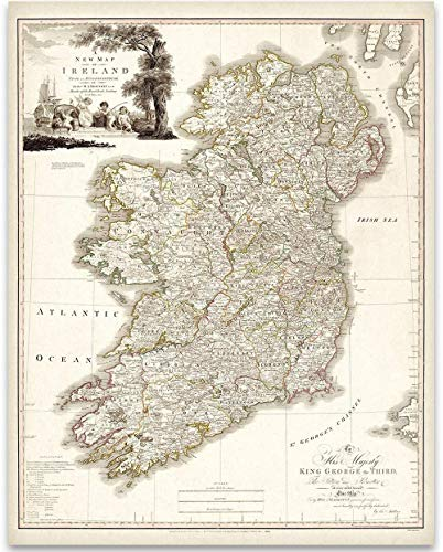 Map of Ireland 1792-11x14 Unframed Art Print - Great Home Decor for Irish Ancestry from Personalized Signs by Lone Star Art
