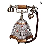 Hestio Retro Vintage Antique Style Rotary Dial Desk Telephone Phone Home Living Room Decor … (Bronze-coloured)