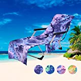 CHIRORO Lounge Chair Beach Towel Beach Chair Cover Microfiber Lounge Chair Cover with Side Storage Pockets for Pool, Sun Lounger, Hotel, Vacation,75x210cm,Blue
