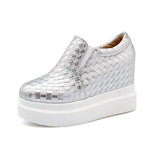 Pompe Elastica Pu Tacchi Weipoot Silver Della Rotonda shoes Solido Chiusa Donne Punta qnHA6z
