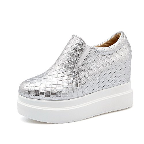 Chiusa Solido Punta Tacchi shoes Elastica Donne Pompe Silver Rotonda Weipoot Della Pu w4qxAaUCng