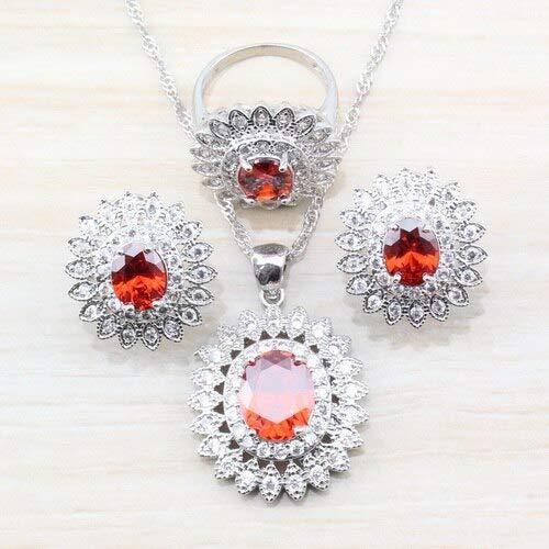 Women Wedding's Sterling Silver Jewelry Sets | Red Garnet Ring (6/7/8/9/10), Bracelet (18cm) Sets (4Pieces) (Garnet Nickel Three Light)