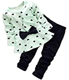 Avidqueen Adorable Cute Toddler Baby Girl Clothes Set Long Sleeve 2pcs Outfits Fall Clothes (Age(2T), 01 Green)