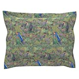 Roostery Africa Standard Flanged Pillow Sham African Helmet Guinea Fowl by Sylvie by House of Heasman Natural Cotton Sateen Made