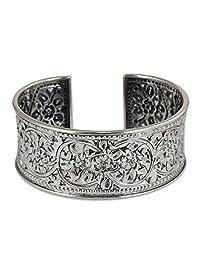 "NOVICA .950 Silver Handmade Cuff Bracelet with Floral Motif, 6.25"", Renewal'"