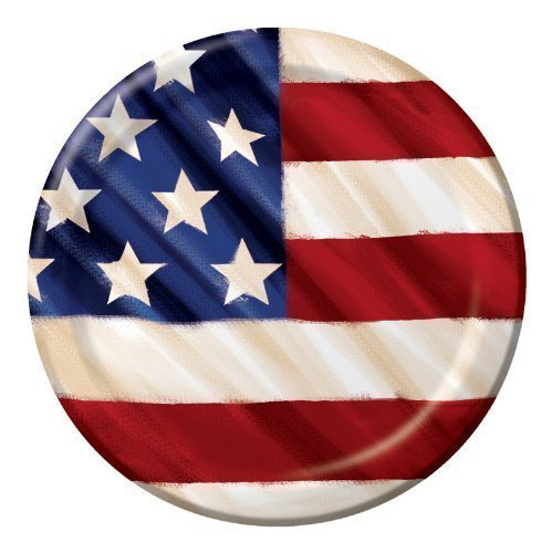 Celebrations Rustic USA American Flag Lunch Plates 8 Per