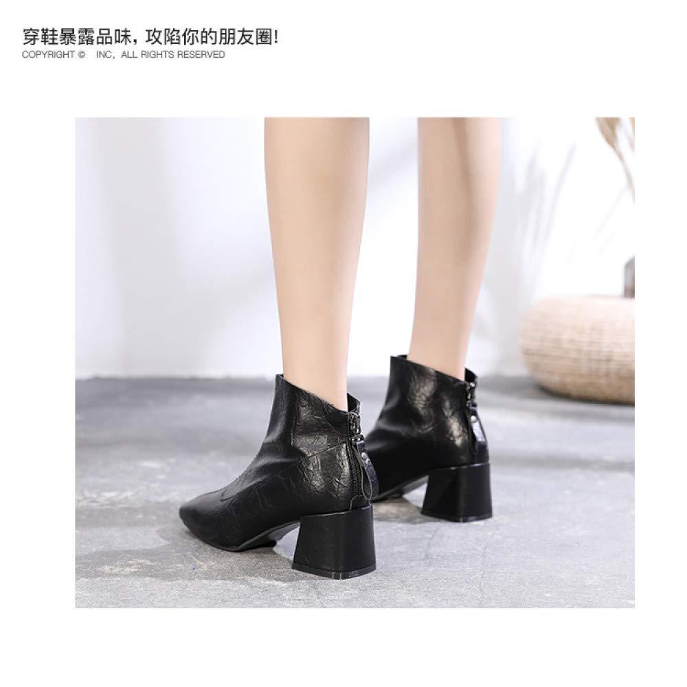 Qingchunhuangtang Kurze Stiefel Damen Frühjahr und und und Herbst hochhackige, viereckige Netzstiefel wild mit den britischen kurzen Röhrenstiefeln 627b82