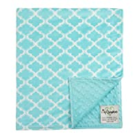 "My Blankee Moroccan Mini Tile Minky Throw Blanket, 52"" X 59"", Light Blue"
