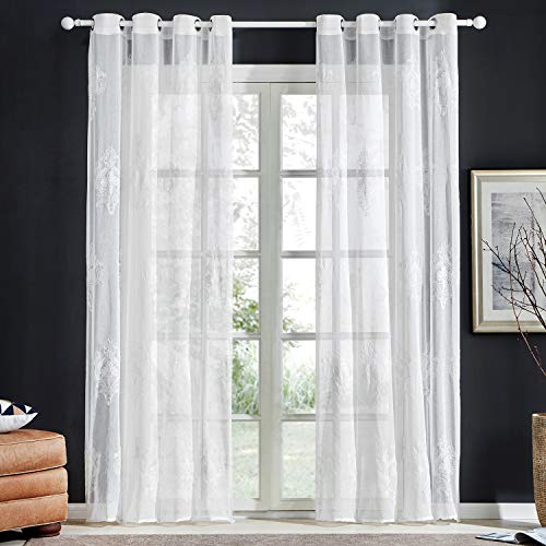 Top Finel Grommet White Sheer Curtains 63 Inch Length for Bedroom Living Room Faux Linen Damask Embroidered Window Curtains, 2 Panels