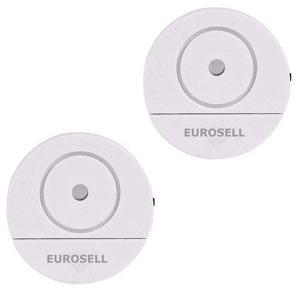 Eurosell - 2 Stü ck Fenster Glasbruch Alarm Sensor + Sirene - Einbruch Diebstahl Schutz ! Fensteralarm Glasbruch Alarmanlage Alarm Alarmsystem Mini Glasbruchmelder