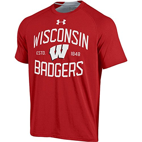 Wisconsin Badgers Under Armour Charged Cotton HeatGear Anti-Odor T-Shirt (S)