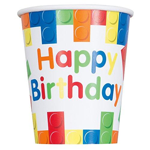 9oz Building Blocks Birthday Party Cups, 8ct