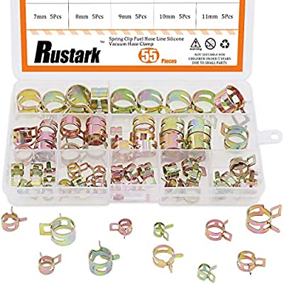 Rustark 55Pcs Spring Band Type Action Fuel Line Silicone Vacuum Hose Pipe Clamp Low Pressure Air Clip Clamps Fasteners Assortment Kit (5 x 7mm 8mm 9mm 10mm 11mm 12mm 13mm 14mm 15mm 16mm 17mm): Home Improvement