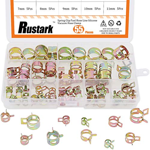 Rustark 55Pcs Spring Band Type Action Fuel Line Silicone Vacuum Hose Pipe Clamp Low Pressure Air Clip Clamps Fasteners Assortment Kit (5 x 7mm 8mm 9mm 10mm 11mm 12mm 13mm 14mm 15mm 16mm 17mm) ()