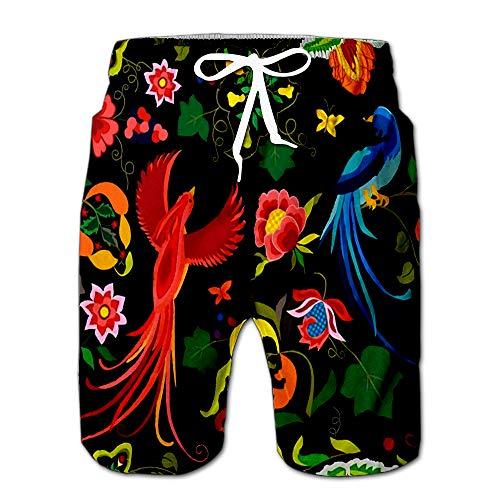(Folk Birds Flowers Leaf and Grape Branches in Vintage Style Han Men Swimwear Volley Pants Pocket XL)
