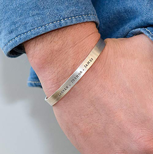 Handmade Engraved Personalized Open Bangle Bracelet for Men in Sterling Silver 925 Custom Made Man Fathers Day Jewelry Gift for Him Dad Husband Boyfriend