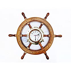 Nautical Premium Wide Brass Porthole Ship Wheel Clock | Wall Hanging | Numerals | Vintage Gift | Nagina International (18 Inches)