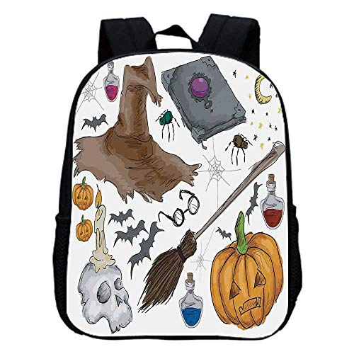 Halloween Decorations Fashion Kindergarten Shoulder Bag,Magic Spells Witch Craft Objects Doodle Style Grunge Design Candle Skull For Hiking,One_Size]()