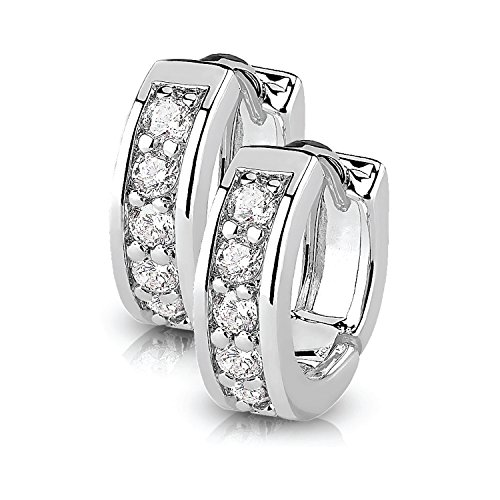ings Hoops Huggie Half Circle Pave CZ Crystal Clear Stainless Steel 12mm Hoop (Dome Silver Earrings)