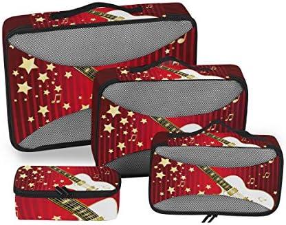 ゴールデンスターギターミュージック荷物パッキングキューブオーガナイザートイレタリーランドリーストレージバッグポーチパックキューブ4さまざまなサイズセットトラベルキッズレディース