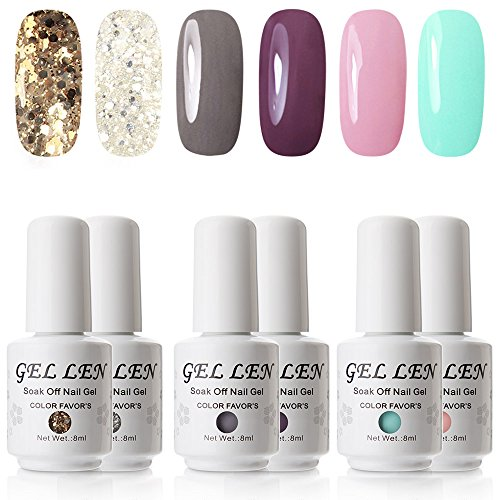 UV LED Gel Nail Polish - Gellen Pack of 6 Colors, Soak Off G
