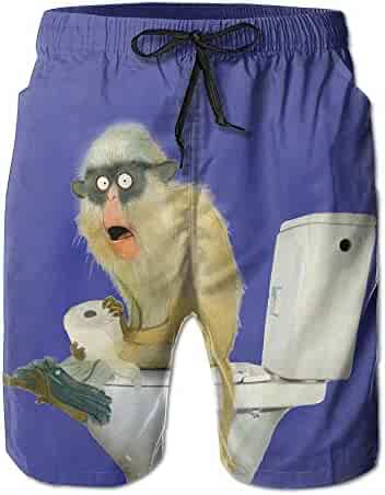 81e9cf54a92b2 Men's Funny Papio Monkey Sitting On The Toilet Swim Trunks Boardshorts With  Pokets Beach Shorts