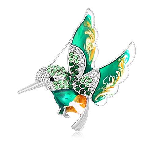 RUXIANG Clorful Enamel Rhinestone Hummingbird Bird Brooches Pin Badge Clothes Jewelry (Hummingbird Bird Pin)