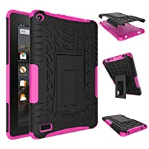Fire 7 inch Case,YiLin [Rose] [Shock Absorbent] Premium Dual Layer Defender Protective Rugged Cover with Kickstand for Amazon Fire 7'' Tablet 2015 Version