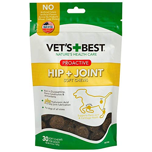 Vets Best Hip & Joint Soft Chew Dog Supplements | Formulated with Glucosamine and Chondroitin to Support Dog Joint and Cartilage Health | 30 Day Supply