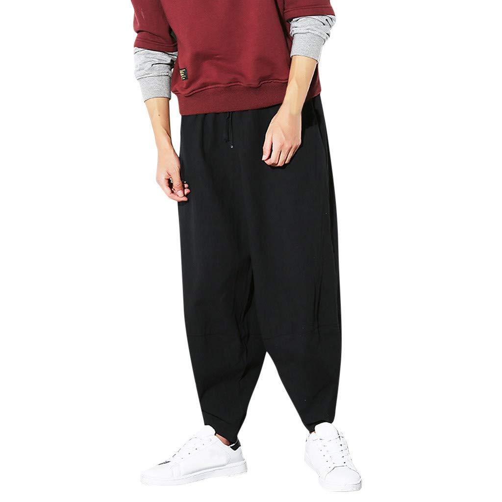 Men's Jogger Track Pants | Fashion Men Casual Loose Solid Personality Drawstring Long Pants Harem Trousers