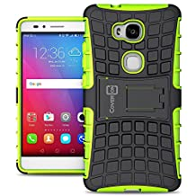 Huawei Honor 5X Hybrid Case, CoverON® [Atomic Series] Hybrid Armor Cover Tough Protective Hard Kickstand Phone Case for Huawei Honor 5X / Huawei GR5 - Green Neon