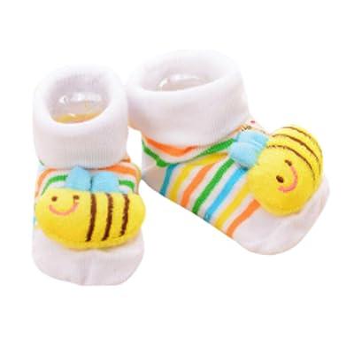 3 paires Non-slip Nouveau-né Bébé Garçon Chaussettes pour tout-petits Chaud Chaussettes antidérapantes Bébé Cadeau d'anniversaire pour bébé de 6-12 mois-A04