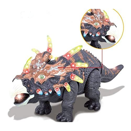 FanBell Walking Triceratops Dinosaur Toy Figure with Many Lights & Loud Roar Sounds, Real Movement (Battery Powered)