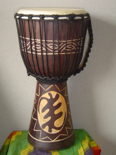 20'' X 10-11'' Deep Carved Djembe Bongo Drum GYE NYAME (God First) with Free Cover, Model # 50M12 by madedrums