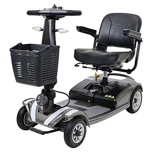 電動シニアカート グレー シルバーカー 車椅子 運転免許不要 折りたたみ 軽量 コンパクト 電動カート 四輪車 4輪車 移動 高齢者 充電 シート回転 電動車椅子 電動車いす 介護 福祉 敬老 お年寄り 老人 乗り物 贈り物 プレゼント スクーター scooterd01gr B01N11H0HJ