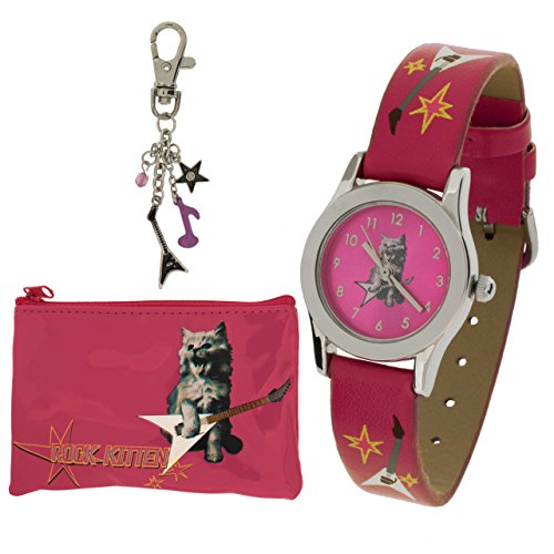 Carvel Rock Kitten Pink Watch Key Ring Purse Girls Jewellery Gift Set G318.71CA