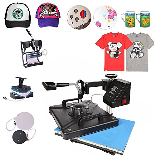 ShareProfit 12'' X 15'' 5 In 1 Digital Heat Press Digital Heat Press Adjustable Multi-spring Balancer Heat Press Machine 1400W T Shirt Press Machine Swing-away Hat Press Non-Stick (5 In 1 12'' X 15'')