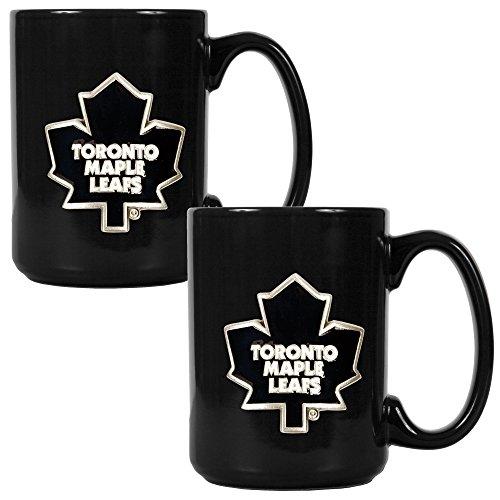 Travel Leafs Toronto Mug Maple (NHL Toronto Maple Leafs Two Piece Black Ceramic Mug Set - Primary Logo)
