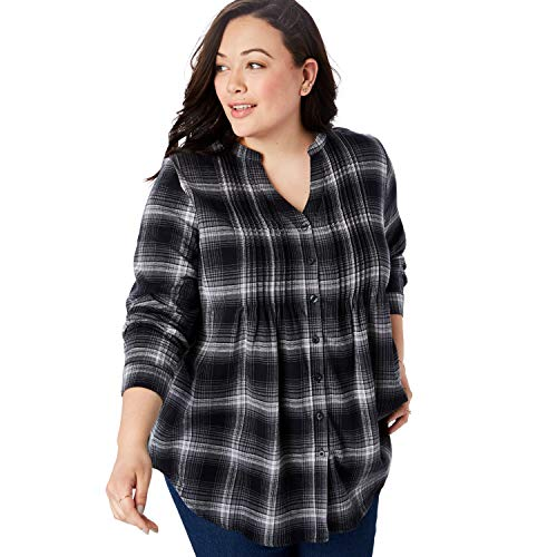 (Woman Within Women's Plus Size Pintucked Flannel Shirt - Black Plaid, 2X)