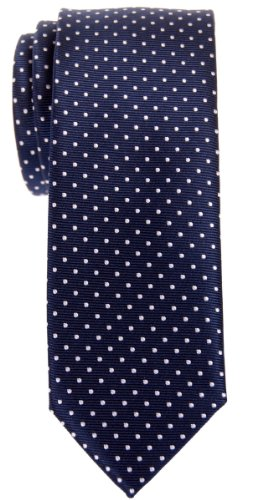 Retreez Modern Mini Polka Dots Woven Microfiber Skinny Tie - Navy Blue with White Dots