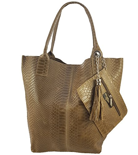 Freyfashion Italy Made Tote In Taupe Bag Women's Snake grvagw