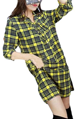 Sleeve Side Plaid Yellow Neck Slit Long Bodycon Cromoncent V Womens Deep Top Shirt Dress WEUFOSn