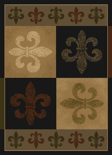 United Weavers of America China Garden French Quarter Rug - 5ft. 3in. x 7ft. 2in., Olive, Polypropylene Rug with Jute Backing, Thick Pile. Synthetic Rugs (De Lis Fleur Rug)